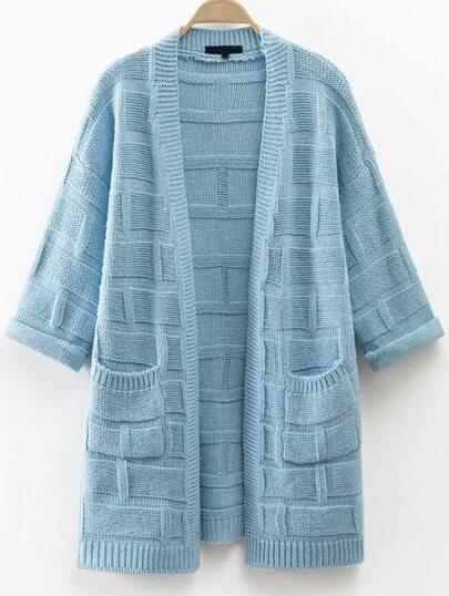 Cárdigan texturado con bolsillo - azul