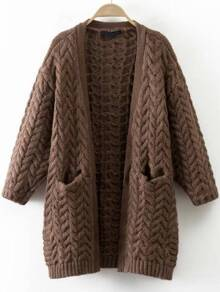 Coffee Cable Knit Side Slit Sweater Coat With Pocket