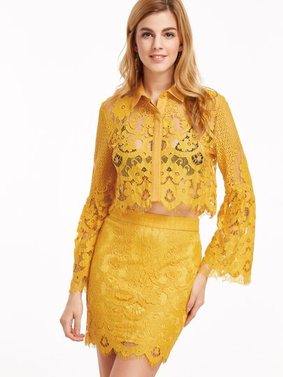 Yellow Bell Sleeve Floral Lace Blouse With Bodycon Skirt