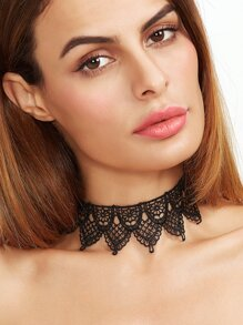 Black Geometric Hollow Out Lace Choker Necklace