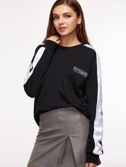 Black Striped Sleeve Embroidered Sweatshirt