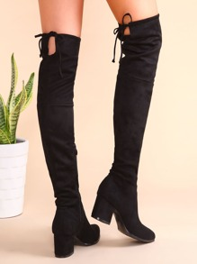 Black Point Toe Tie Back Side Zipper Thigh High Suede Boots