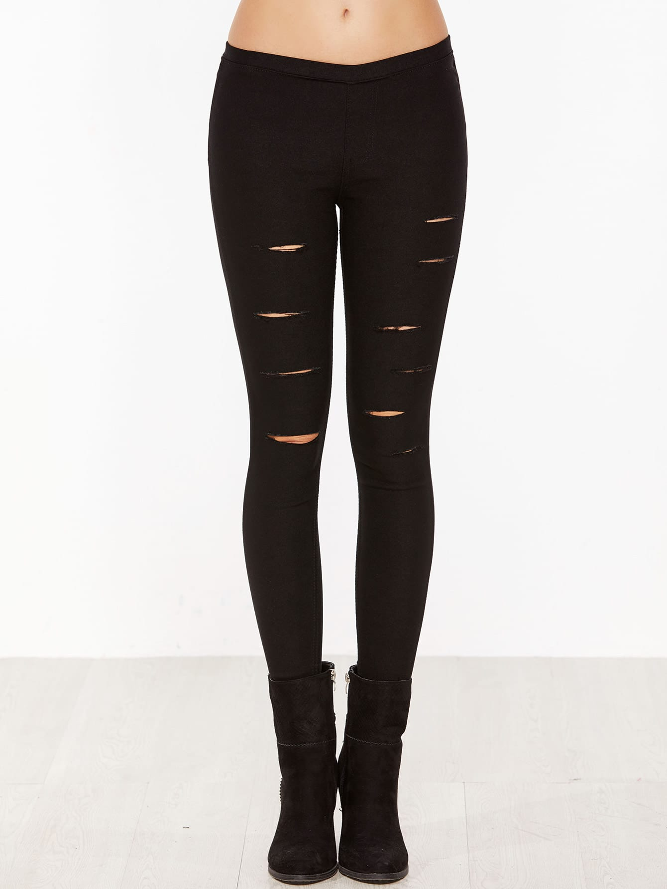 Black Skinny Ripped Elastic PantsBlack Skinny Ripped Elastic Pants<br><br>color: Black<br>size: L,S