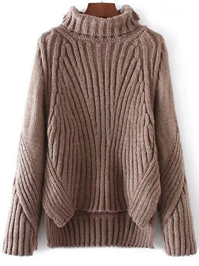 Khaki Turtleneck Side Slit Dip Hem Sweater