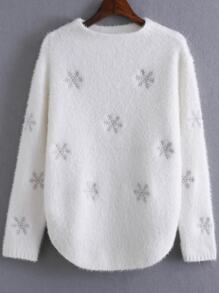 White Snow Pattern Curved Hem Sweater