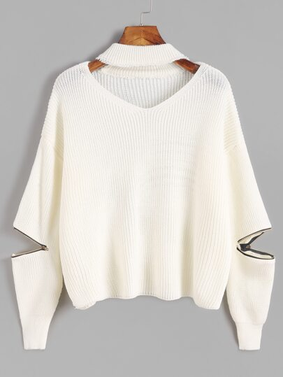 Ivory Choker Neck Sweater With Sleeve Zip Detail