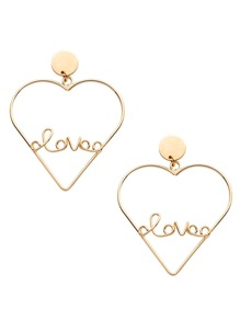 Gold Plated Heart Hollow Out Personalized Drop Earrings