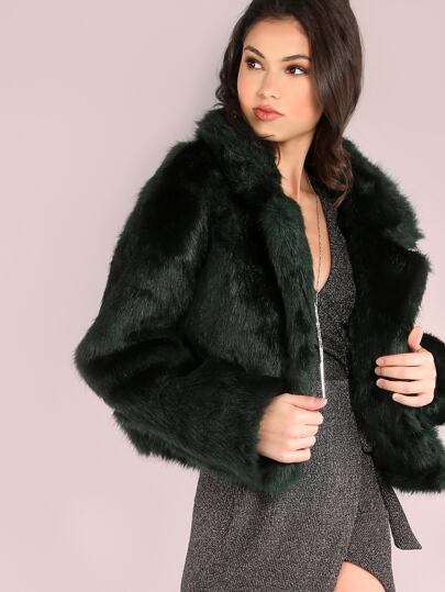 Green Stand Collar Open Front Faux Fur Coat