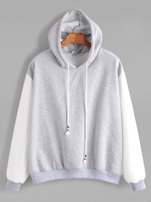 Color Block Hooded Drop Shoulder Sweatshirt