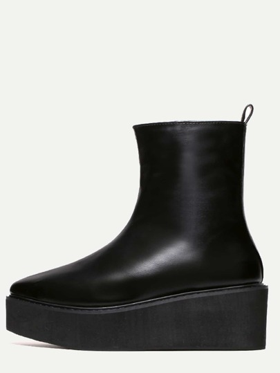 Black Faux Leather Point Toe Platform High Top Boots