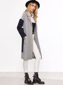 Color Block Drop Shoulder Hidden Button Coat
