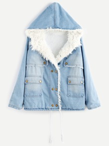 Blue Bleach Wash Faux Fur Lining Hooded Denim Coat