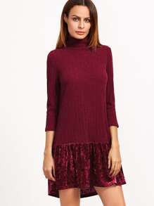 Burgundy Ribbed Knit High Neck Velvet Ruffle Trim Dress