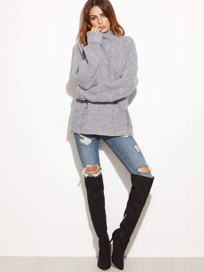 Grey Marled High Neck Ripped Oversized Sweater -SheIn(Sheinside)
