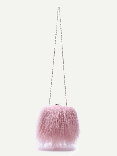 Pink Woolen Kiss Lock Crossbody Chain Bag