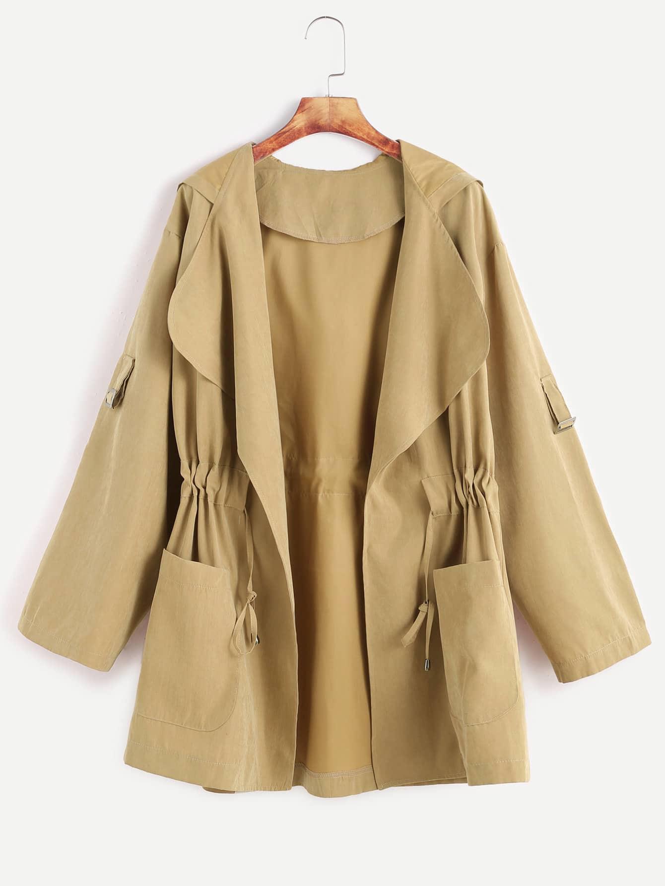 Khaki Drawstring Waist Hooded CoatKhaki Drawstring Waist Hooded Coat<br><br>color: Khaki<br>size: L,M,S