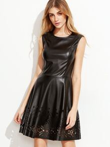 Black Faux Leather Laser Cutout Skater Dress