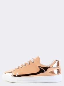 Metallic Round Toe Sneakers ROSE GOLD