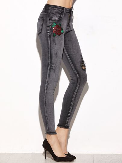 Grey Sequin Rose Embellished Ripped Skinny Jeans