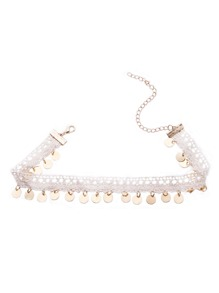 White Lace Gold Coin Fringe Choker Necklace