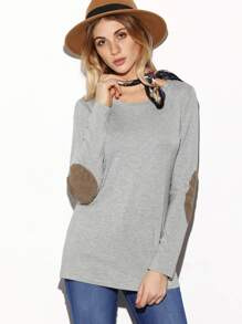 Grey Long Sleeve Elbow Patch T-Shirt