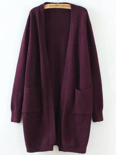 Burgundy Ribbed Detail Front Pocket Long Cardigan