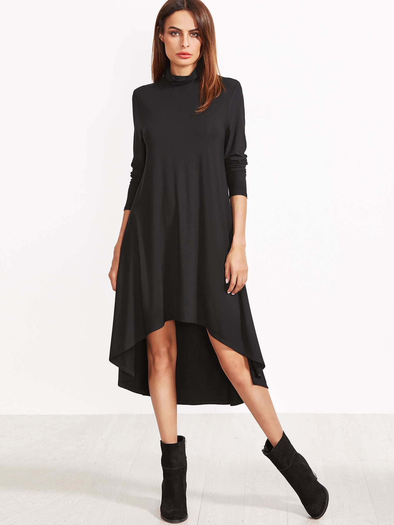 Cowl Neck Dip Hem Swing Dress