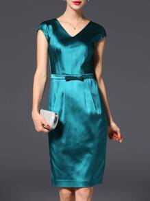 Emerald Green V Neck Belted Sheath Dress