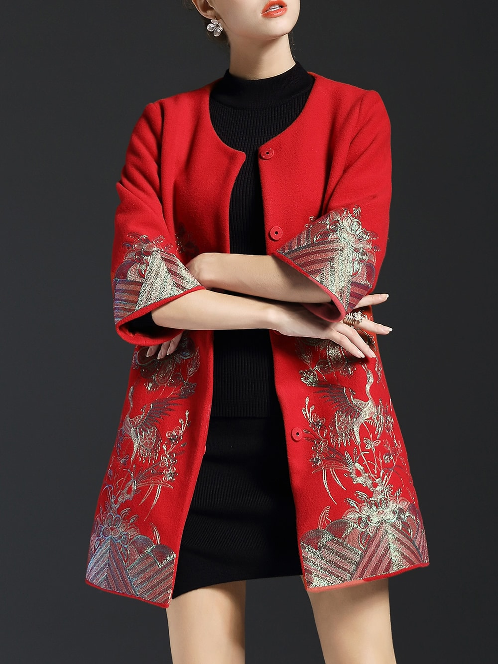 Red Flowers Embroidered Pockets Coat coat161117622