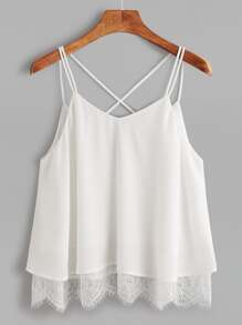 White Lace Trim Crisscross Notch V Back Cami Top