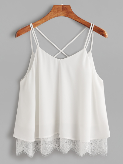 Lace Trim Crisscross Back Cami Top
