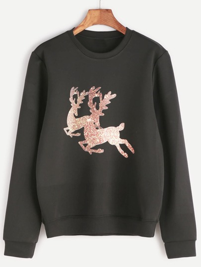 Black Animal Print Long Sleeve Sweatshirt