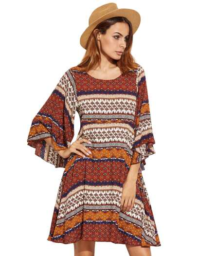 Multicolor Tribal Print Ruffle Sleeve A Line Dress