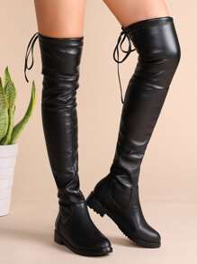 Black Faux Leather Tie Back Thigh High Boots