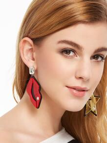Red Lips Gold Star Personalized Asymmetrical Earrings