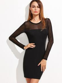 Black Sheer Sleeve Bodycon Dress