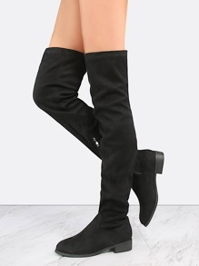 Thigh High Almond Toe Suede Boots BLACK