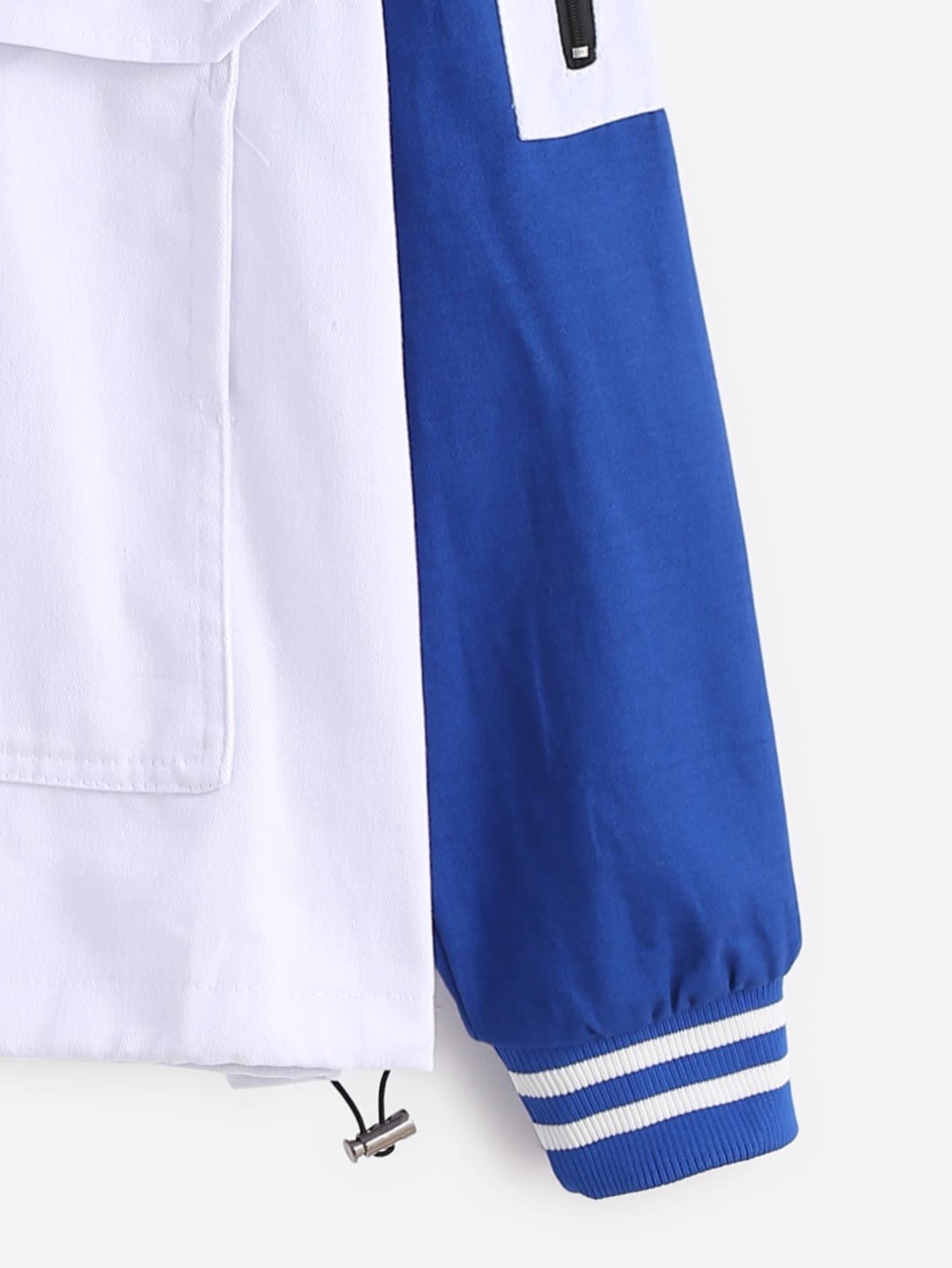Royal Blue Contrast Letters Print Pocket Hooded Sweatshirt