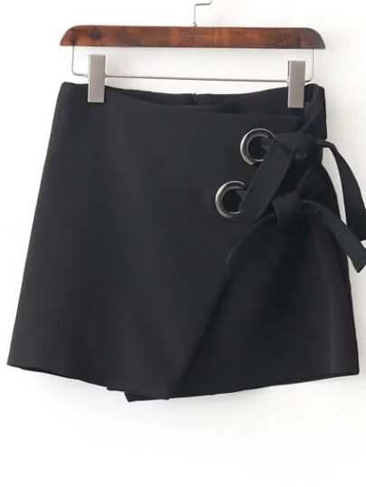 Jupe en œillet dos avec lacet zip - noir