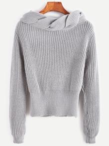 Grey Twisted Knit Trim Sweater