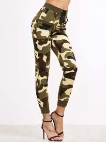 Olive Green Camo Print Lace Up Front Skinny Sweatpants