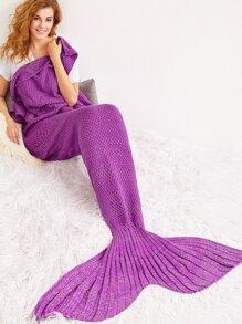 Coperta Forma Sirena A Maglia - Violetto