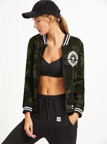 Contrast Striped Trim Letter Print Camo Jacket