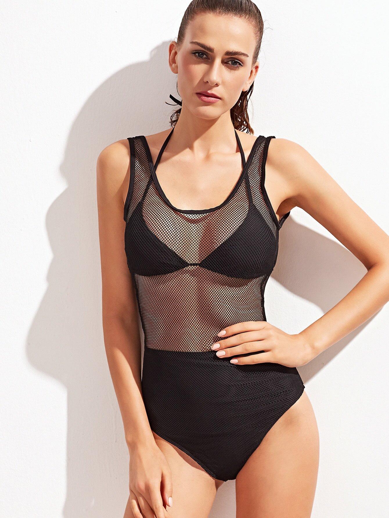 Fishnet Panel Scoop Swimsuit With Bikini Top swimwear161128308