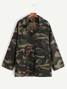 Olive Green Camo Print Multi Pocket Jacket