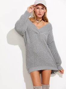 Grey V Neck Drop Shoulder Chunky Knit Sweater