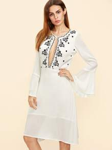 White Open Front Bell Sleeve Embroidered Dress