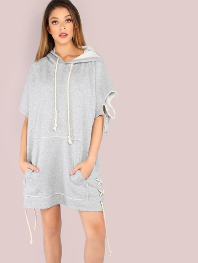 Oversized Short Sleeve Distressed Hoodie GREY