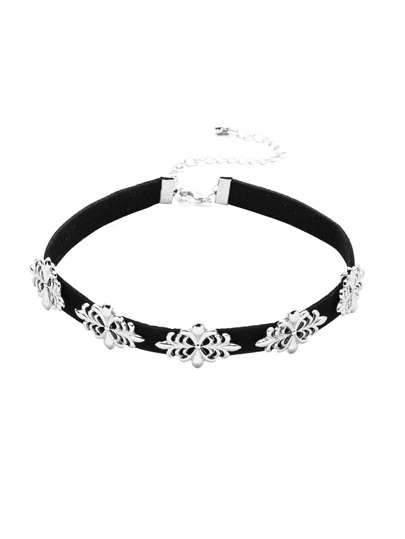 Black Velvet Choker With Silver Charm