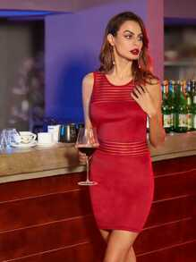 Red Striped Mesh Yoke And Waist Bodycon Dress